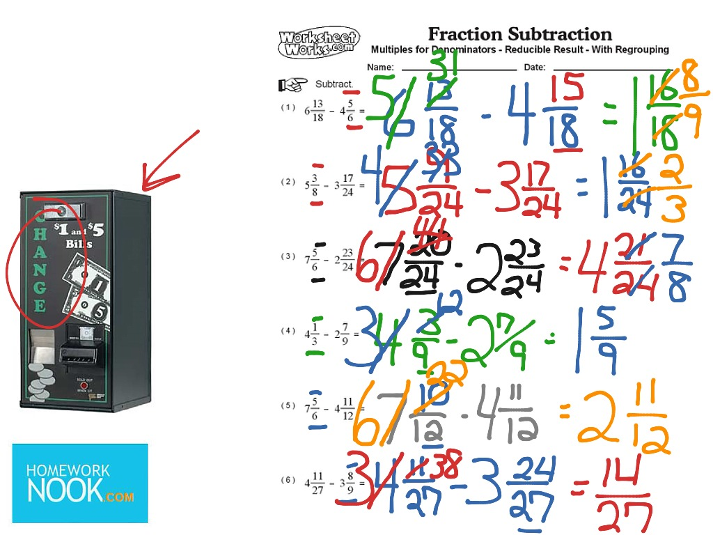 Fraction Subtraction Renaming Mixed Numbers