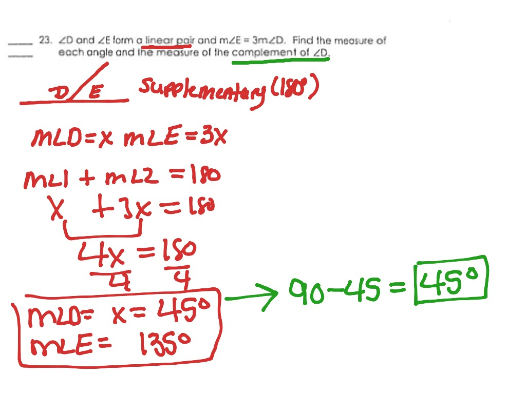 Gcf 2 Complementary And Supplementary Angles Problems