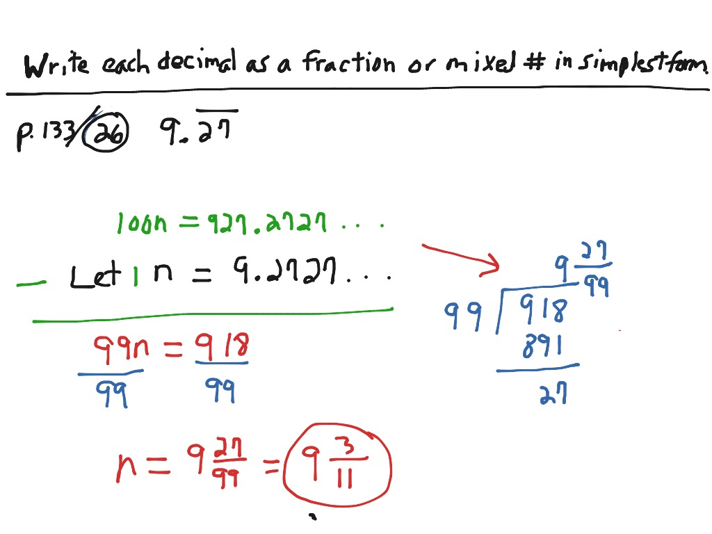 Changing Repeating Decimals To Fractions P 133 23 26