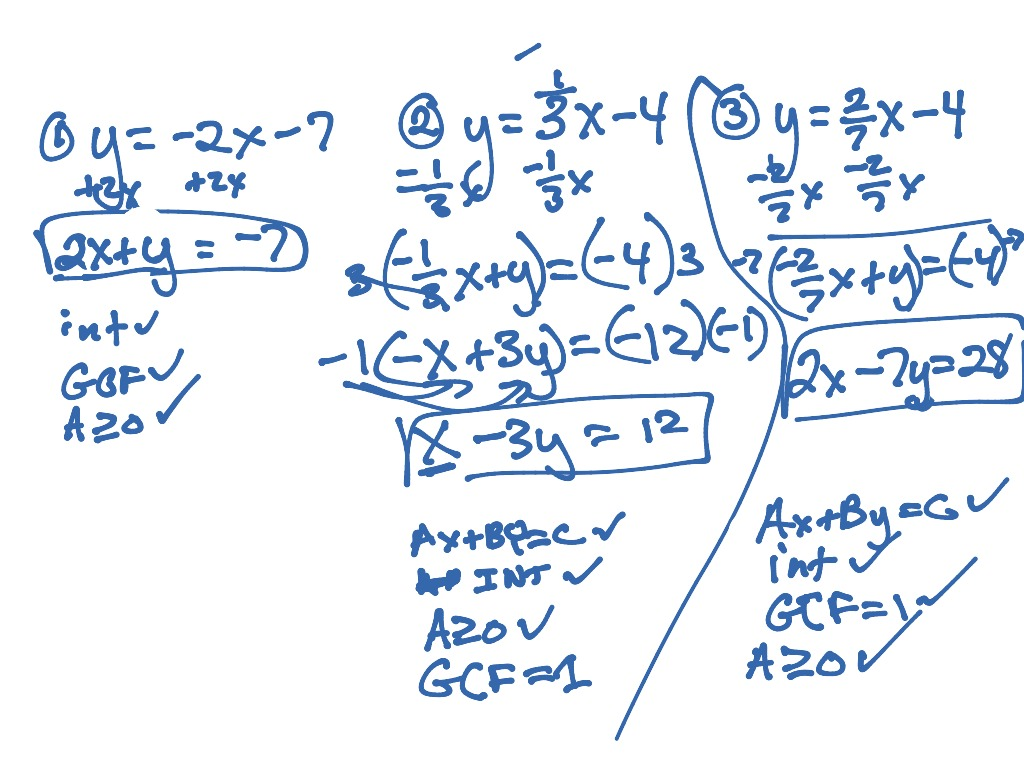 Linear Equations Standard Form