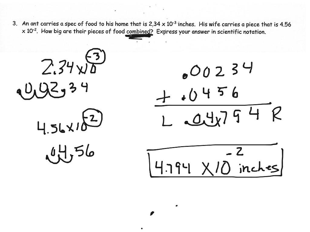 Adding Scientific Notation Word Problems