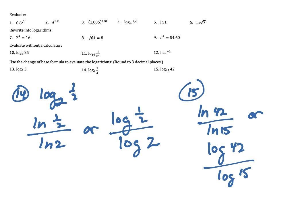 Log Practice Problems Worksheet 1 15