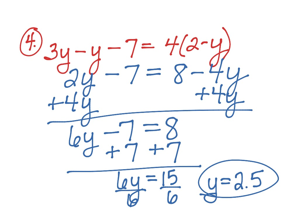 Introduction To Solving Multi Step Equations With