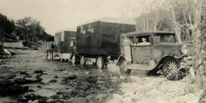 """alt=""""early days moving carnival shows by truck"""""""