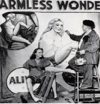 """alt=""""Sideshow banner painter Bobby Wicks"""""""