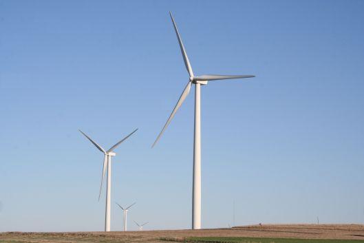 Wind farm along I-70 in Kansas.