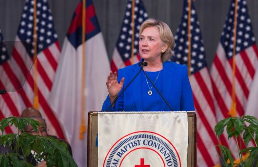Hillary Clinton (D) speaking at the National Baptist Convention in Kansas City - September 8, 2016.