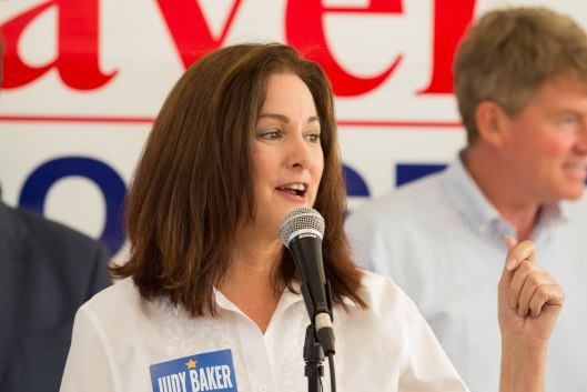 Judy Baker (D), the party's nominee for State Treasurer, speaking at a GOTV kickoff rally in Kansas City - October 29, 2016.