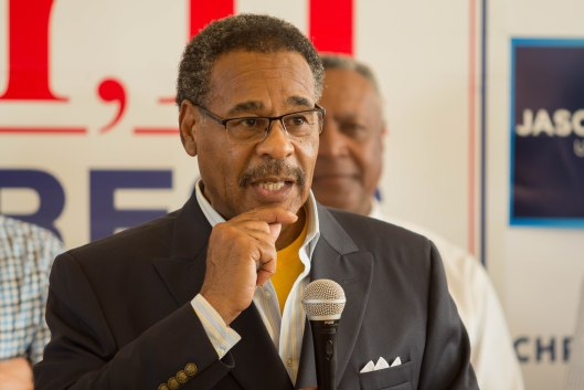 Representative Emanuel Cleaver (D), speaking at a GOTV kickoff rally in Kansas City – October 29, 2016.