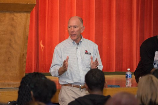 University of Central Missouri President Chuck Ambrose speaking with students at an open forum in the Student Union after campus protests - November 10, 2016.