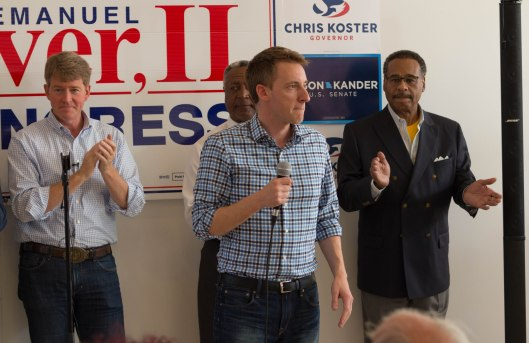 Jason Kander (D) speaking at a get out the vote rally in Kansas City - October 29, 2016.