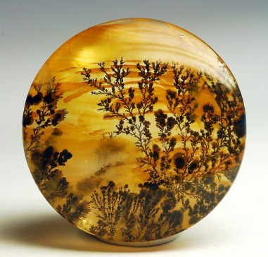 An agate that looks like a painting of flowering vines silhouetted on a beautiful golden sunset background.