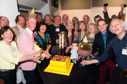 PICTURED: 50th anniversary of Play School reunion group photo, Riverside Studios, May 2014). SUPPLIED BY: Paul R. Jackson. COPYRIGHT: Paul R. Jackson.