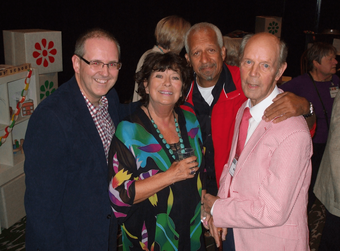 PICTURED: Paul R. Jackson; Carol Chell; Derek Griffiths; Brian Cant (50th anniversary of Play School reunion, Riverside Studios, May 2014).