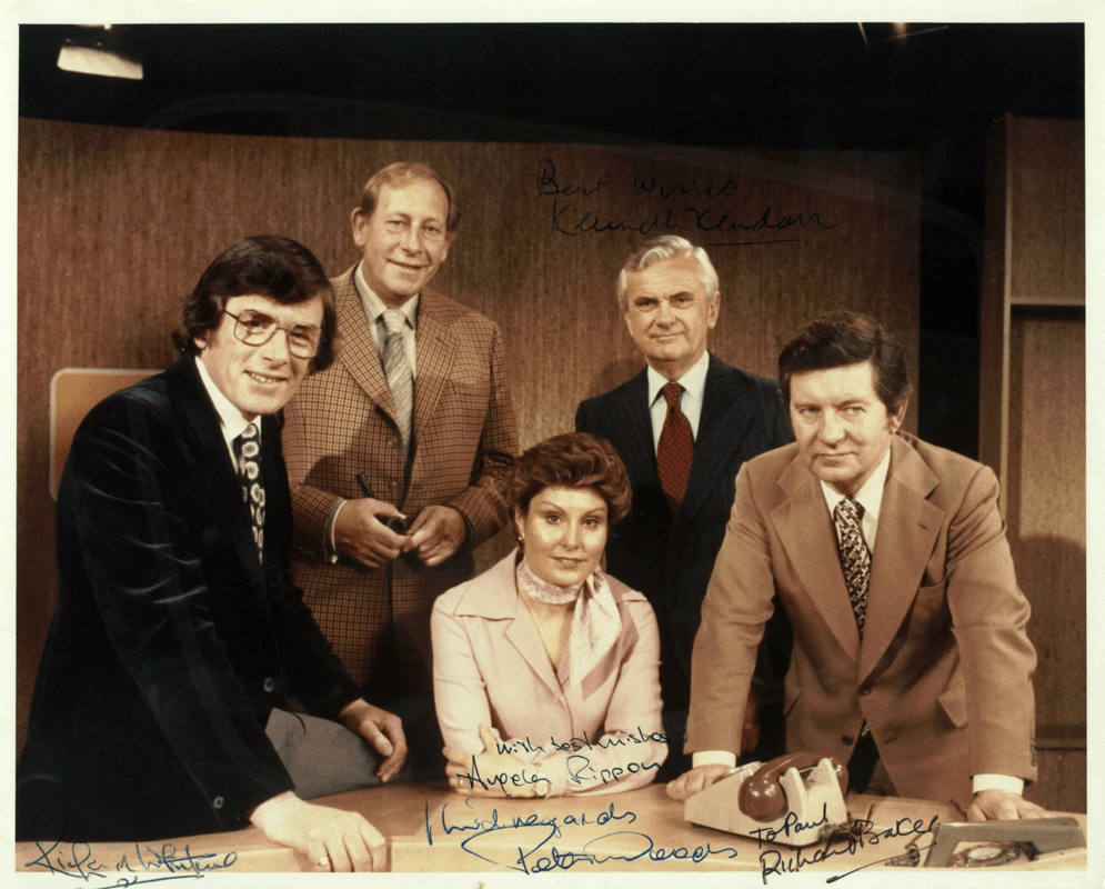 Richard Whitmore, Peter Woods, Angela Rippon, Kenneth Kendall and Richard Baker