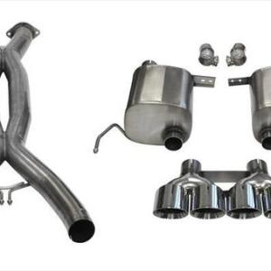 2.75 Inch Valve-Back + X-Pipe Dual Rear Exit with Quad 4.5 Inch Polished Pro-Series Tips 2014-2019 Chevrolet Corvette C7 Corsa Performance