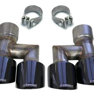 Mustang Quad Exhaust Tip Kit Black 18-19 Ford Mustang GT 5.0 Liter V8 Corsa Performance