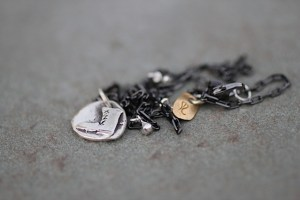 Stand Up! boot necklace Jewelry made from recycled oxidized silver and brass
