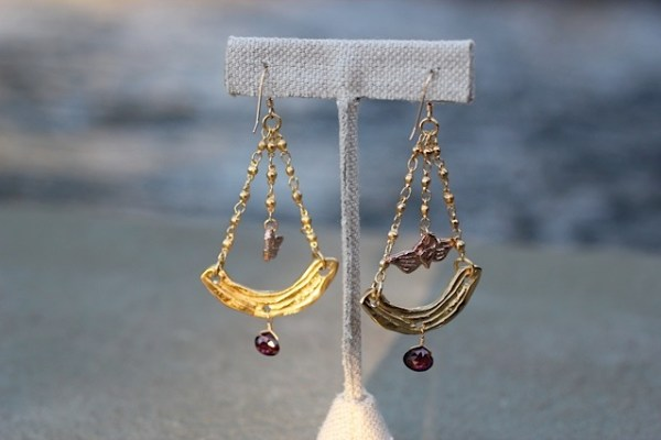 Over the Rainbow earrings Jewelry made from recycled brass, 14k gold and rose gold with garnet beads