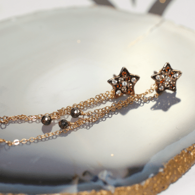 Rising Star Earrings Gold with Pyrite
