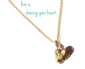 Locket jewelry made from recycled 14k gold, rose gold and brass.