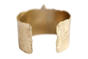 Jewelry made from recycled brass, sterling silver or 14k gold plated brass Five ethically sourced diamonds 1.1-1.5 inch thick cuff