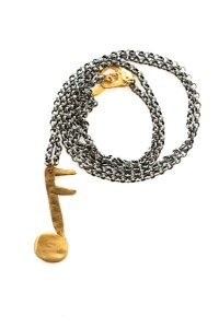 Yipee! music note necklace Jewelry made from recycled brass