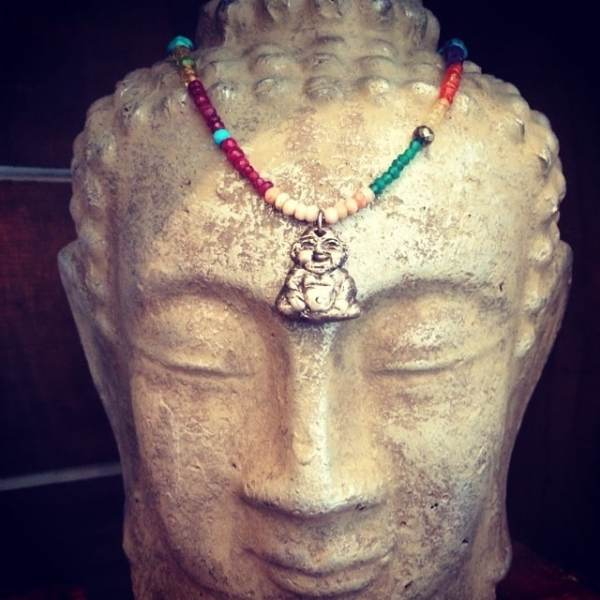 Peace out! It's Friday! Check out our amazing beaded Spirit of Buddha necklace! Made with Sterling Silver and semi-precious colorful stones! #showthelovejewelry #buddha #spiritofbuddha #beads #colors #summerstyle #silver
