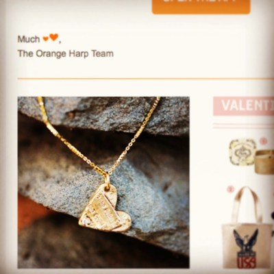 We love being a part of the awesome app @orange_harp Thanks for featuring our 'She Believed She Could So She Did' #heart necklace for #valentinesday!