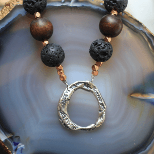 I See You Wood Lava Copper Necklace