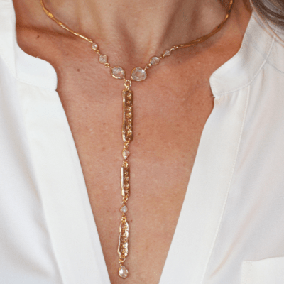 Country Over Party Herkimer Diamond Necklace neck