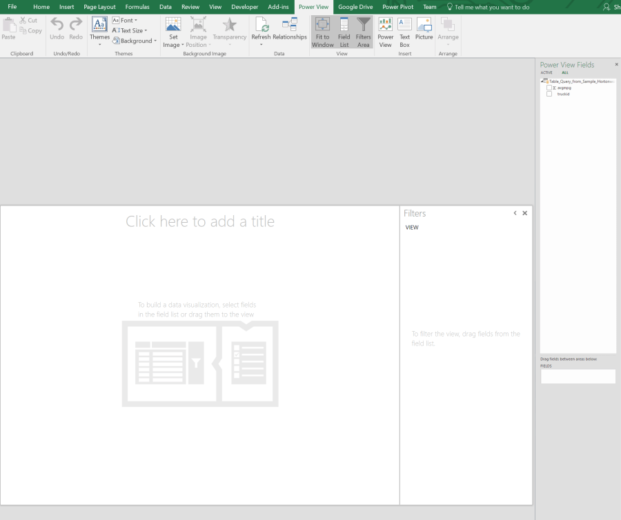 Microsoft Power View in Excel UI