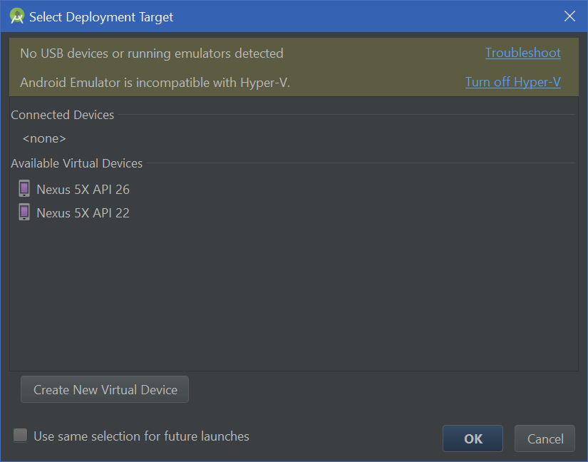 hyper-v android studio device emulator error