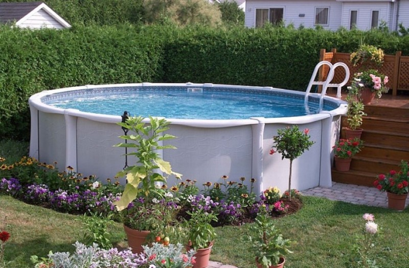 Beautiful Backyard Above Ground Pool With Rose Flower