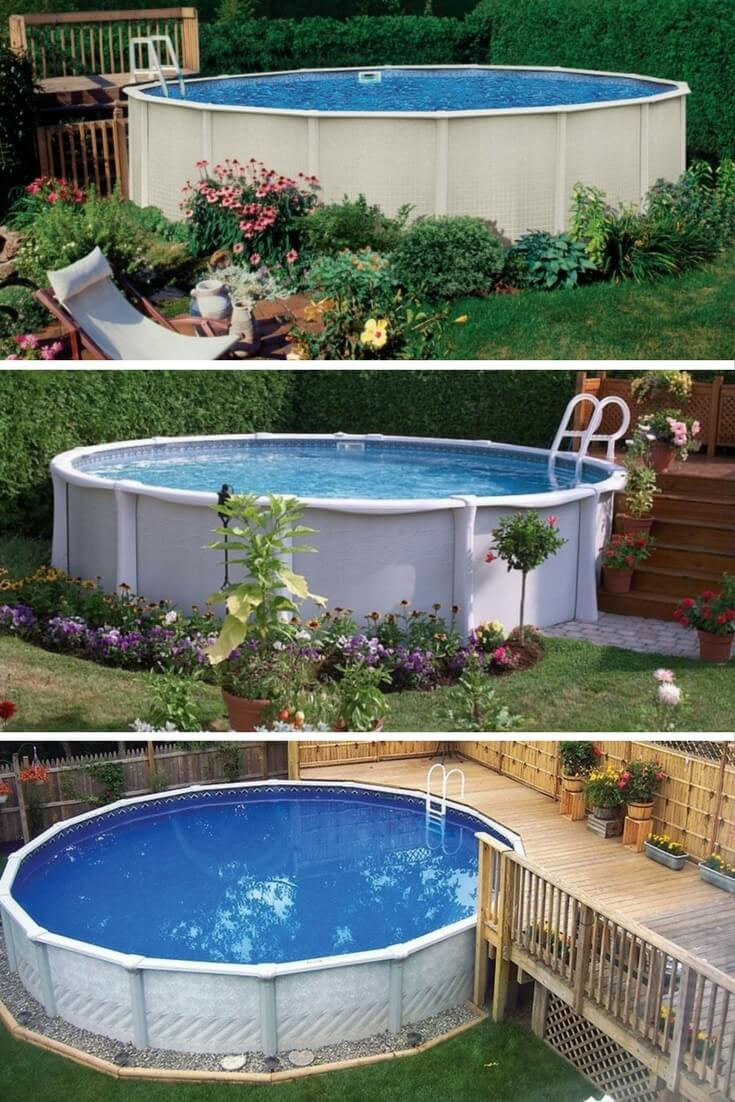 circular above ground pool with decks ideas