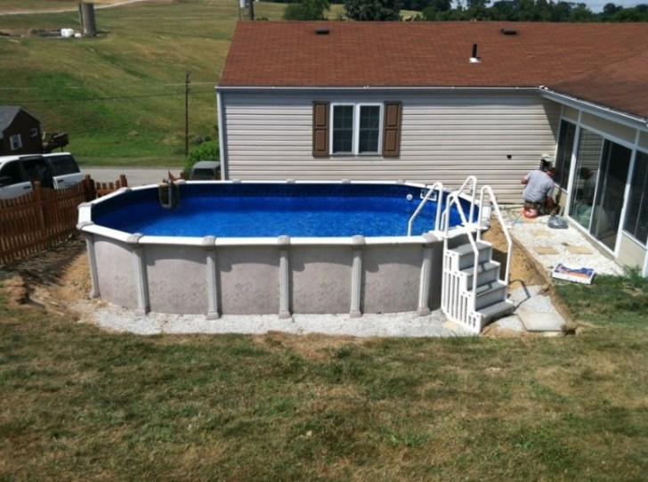 Above ground pool installation cost and how to install for Above ground pool border ideas