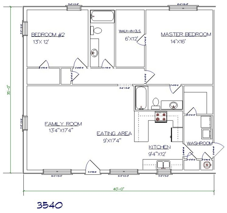 Barndominium cost 2 bedroom, 2 bathroom 35x40