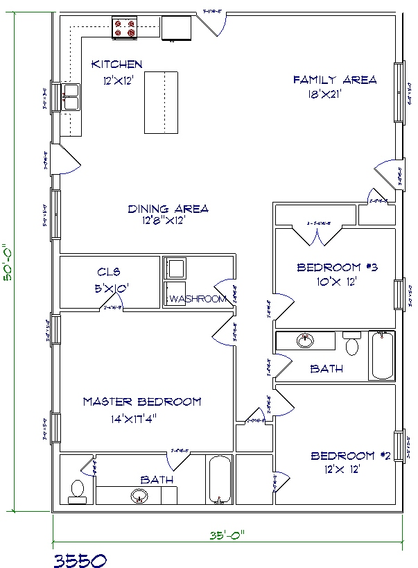 barndominium cost 3 bedroom 2 bathroom 35x50