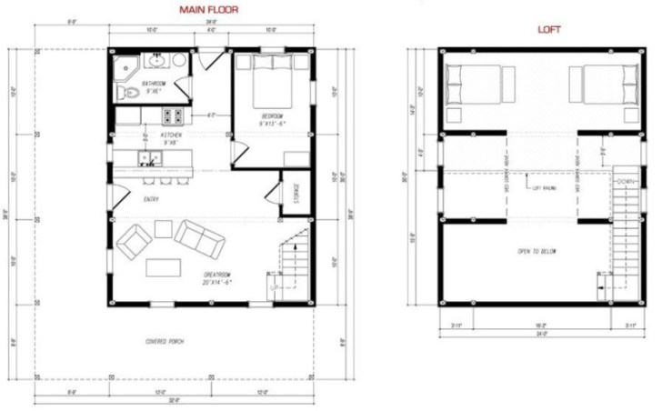 Barndominium floor plans with loft design ideas