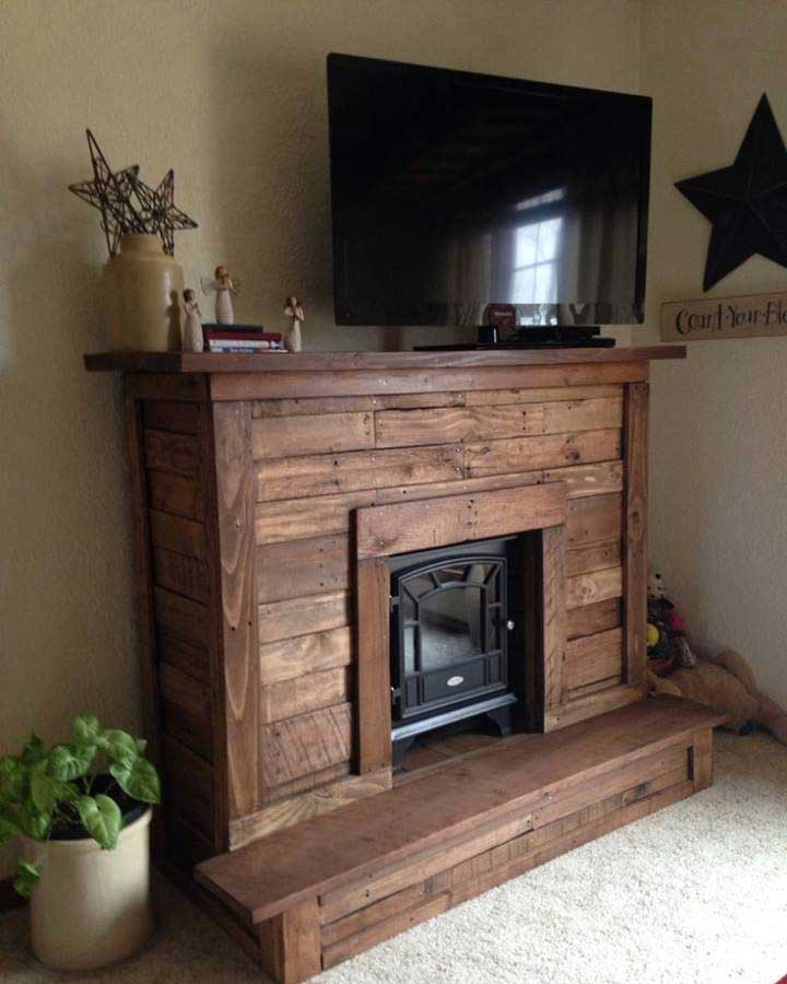 50 creative diy tv stand ideas for your room interior diy design pallet fireplace with tv stand solutioingenieria Gallery