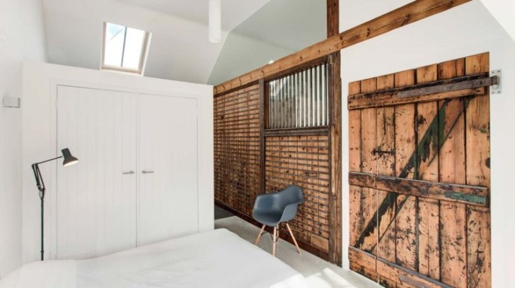 barn home bedroom with stable doors