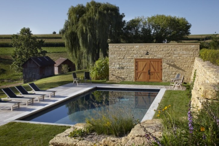 Pole barn home with pool wall at Thistle Hill