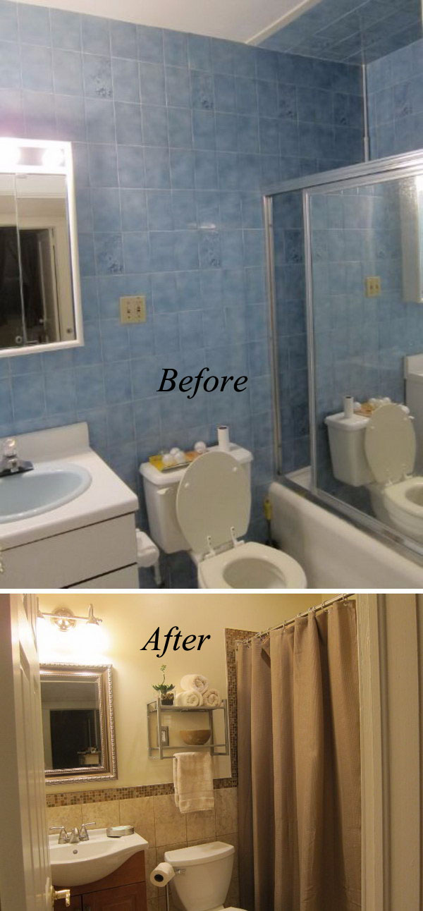 From Blue To Beige Small Bathroom Renovation Before After
