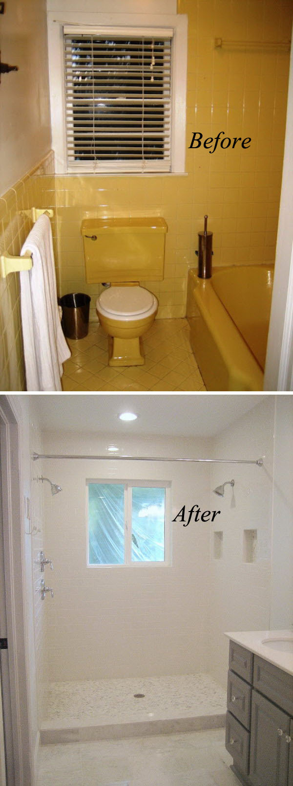 From Yellow to White Small Bathroom Renovation Before After