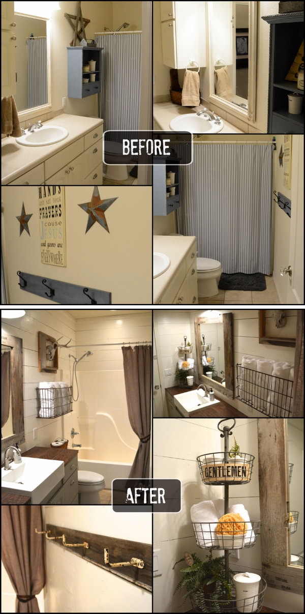 Rustic Small Bathroom Makeover Before After