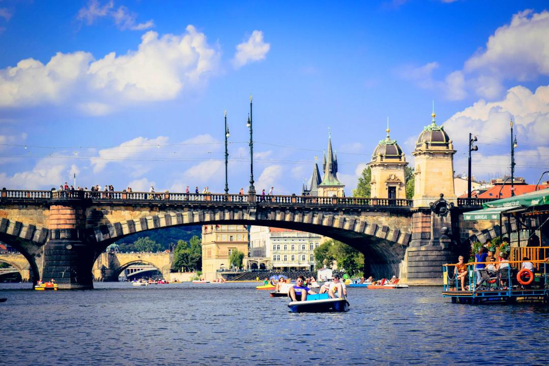 Pedal boating in Vltava River Prague