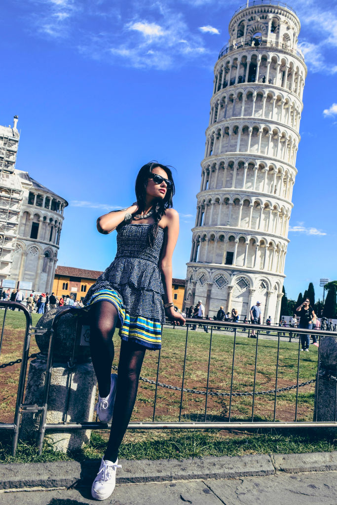 Fashion shoot Leaning Tower of Pisa