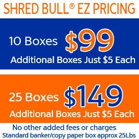 Residential Shredding Service Pricing - $99 for 10 boxes or $149 for 25 boxes