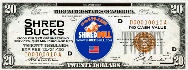 Coupon shredding 20 dollars shredding