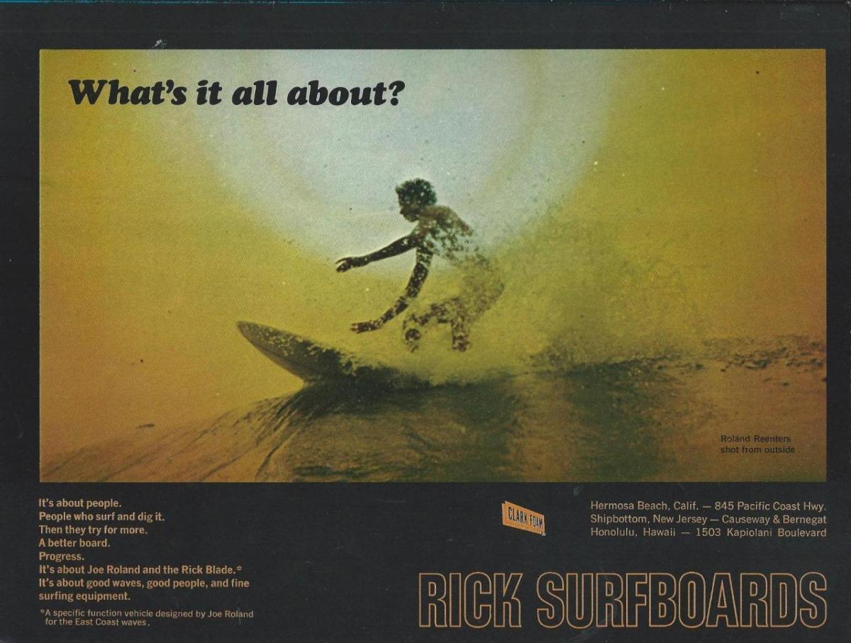 Vintage Rick Surfboards Joe Roland Ad